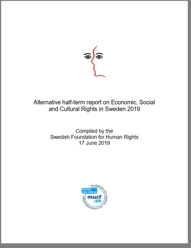 Bild på det svenska civilsamhällets alternativrapport till ESK-kommittén, samordnad av MR-Fonden.