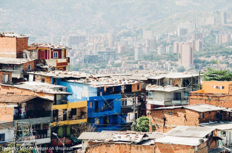 Bild på ett bostadsområde i Medellin, Colombia.